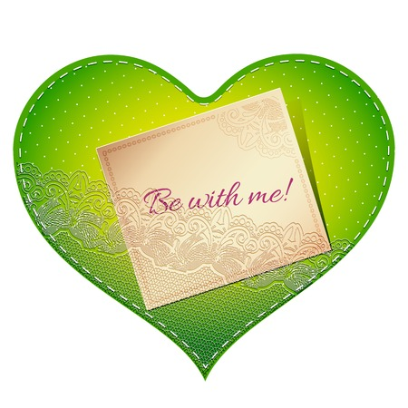 amore: Bright green vintage lace card in the shape of satin heart with love note