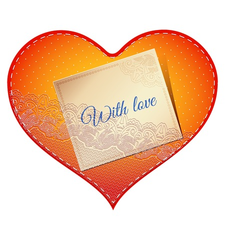 amore: Bright red vintage lace card in the shape of satin heart with love note