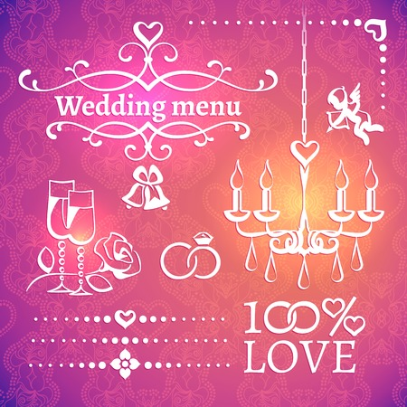 picturesque: Set of white wedding classic design elements for the invitations, postcards, menus on the bright picturesque magenta background with openwork ornament