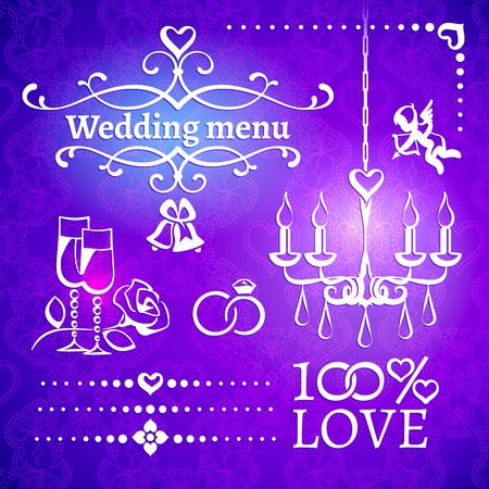 Set of white wedding classic design elements for the invitations, postcards, menus on the bright picturesque violet background with openwork ornament Vector