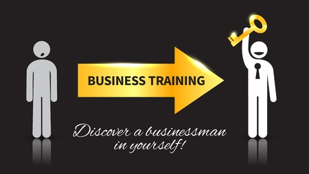 personal growth: Business icon of man with a key, who attended a training and discover a businessman in yourself with gold and white elements on a black background