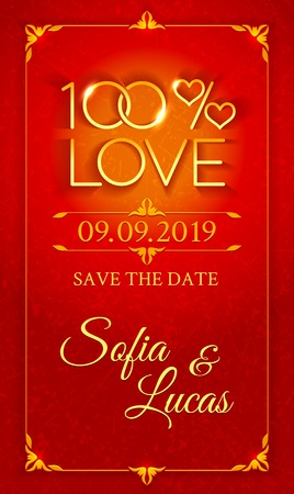 Bright red wedding invitation in the form of two glittering rings and hearts in the percent symbol with carved gold vintage ornament frame Vector