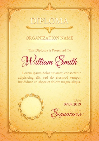 Light golden classic diploma with a marble texture, vintage decorative elements and frame with space for stamp seal and congratulatory text Ilustracja