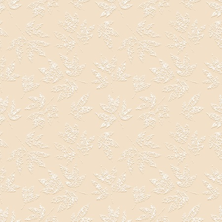 Light beige grunge floral seamless pattern with white embossed print of scratched leaves peony