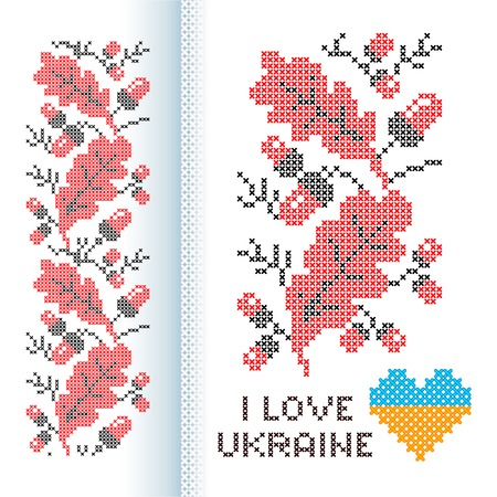 Ornament national Ukrainian cross-stitch red and black color oak branches with leaves and acorns for towel, border, belts, etc.