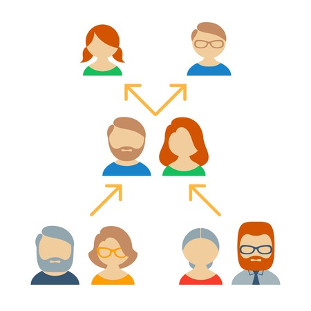 three generations: Icons and avatars showing family ties and branch of the genealogical tree from three generations