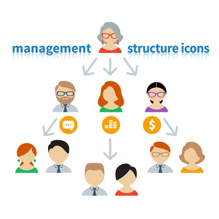 allow: Icons and avatars that show communication management and staff hierarchy Illustration