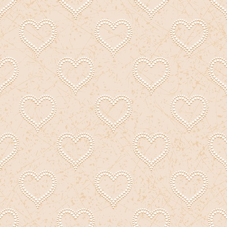 convex: Beige seamless background with white dotted beads in form of hearts convex, cast shadows