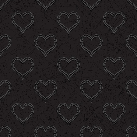 convex: Black seamless background with dark dotted beads in form of hearts convex, cast shadows Illustration