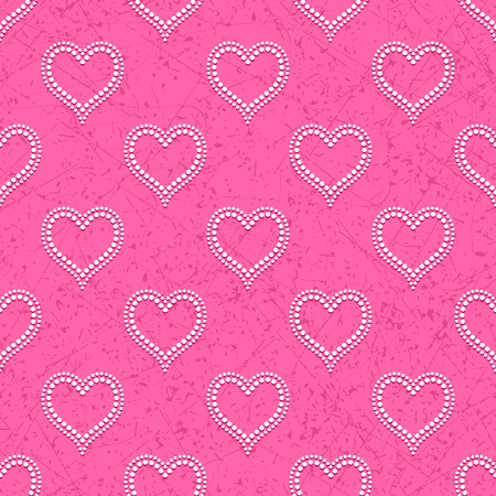 bas relief: Pink seamless background with white dotted beads in form of hearts convex, cast shadows