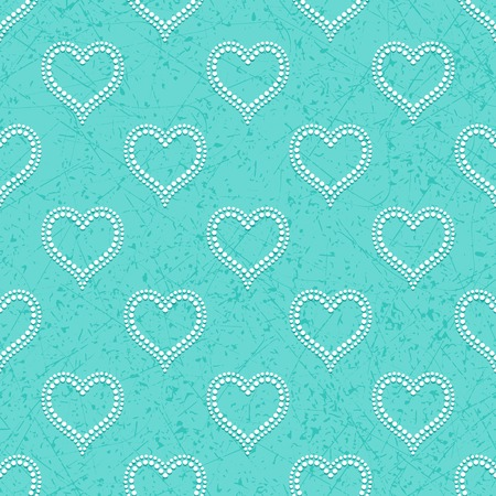 bas relief: Turquoise seamless background with white dotted beads in form of hearts convex, cast shadows