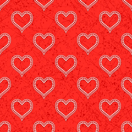 convex: Red seamless background with white dotted beads in form of hearts convex, cast shadows Illustration