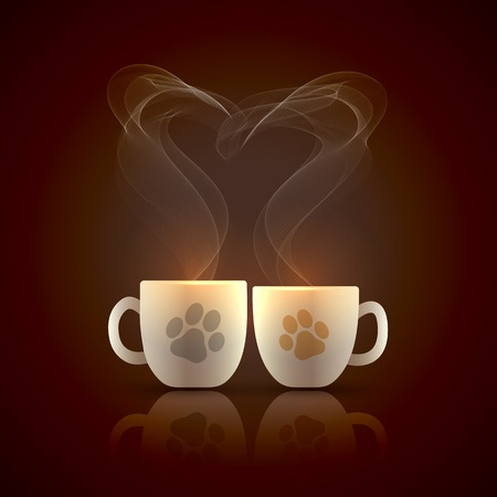 Two cream color cups decorated with cat tracks stand together with fragrant steam in the form of heart on Valentines Day Ilustracja