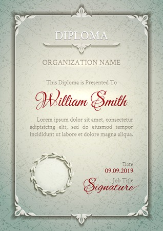 diploma: Silver classic diploma with a marble texture, vintage decorative elements and frame with space for stamp seal and congratulatory text