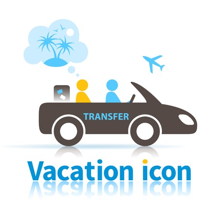 Icon of the person who use the services of a transfer to the airport for the trip to rest and dream on the way to vacation