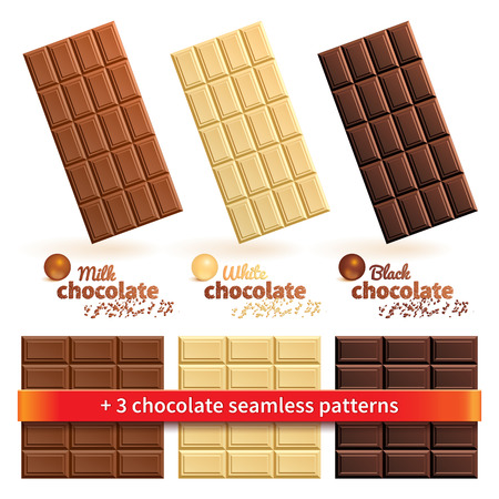 chocoholic: Big collection of milk, white and black chocolate bars, balls, shavings and seamless texture