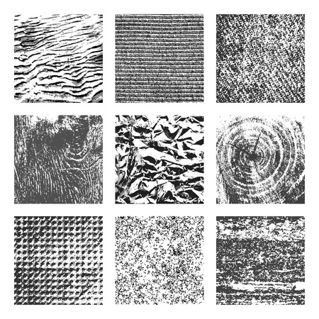 brutal: Collection of 9 square black and white brutal grunge background textures of sand, canvas, foil, wood and stone
