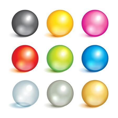 さまざまな色、材料、金属、ガラス、シルバー、ゴールドのカラフルなボールの明るいコレクションです。
