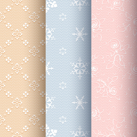 Collection of beige, blue and light pink vintage seamless classic patterns with white floral, snowflakes and roses ornament on a delicate lace background