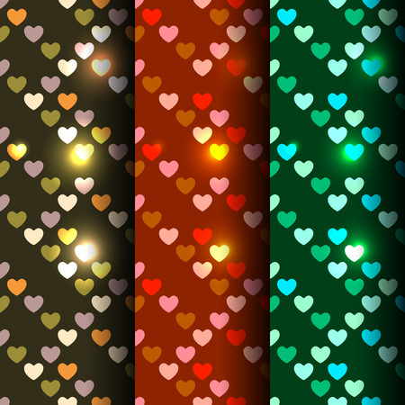 Bright set of 3 seamless pattern with shiny golden sequins in the form of heart on a black, red and green background in disco style Vector