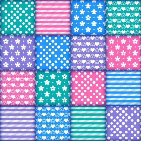 Bright colorful seamless pattern as patchwork quilt with white flowers, stripes, hearts and dots on the violet, green, blue and pink background