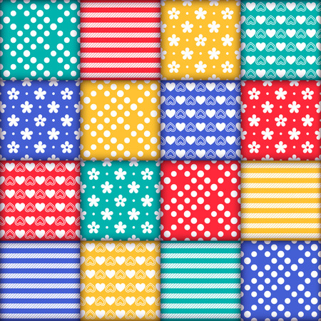 Bright colorful seamless pattern as patchwork quilt with white flowers, stripes, hearts and dots on the green, red, yellow and blue background