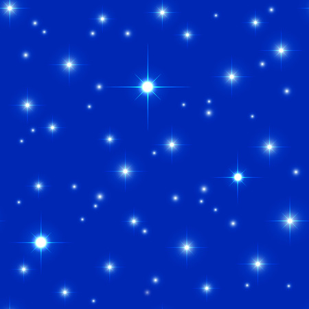 bright space: Bright space seamless pattern with sparkling stars on the dark blue background