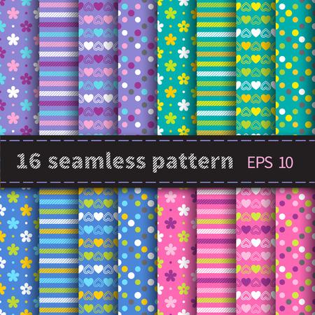 Conjunto brillante de 16 sin patrón con flores de colores, rayas, corazones y puntos en la violeta, fondo verde, azul y rosa Foto de archivo - 38671942