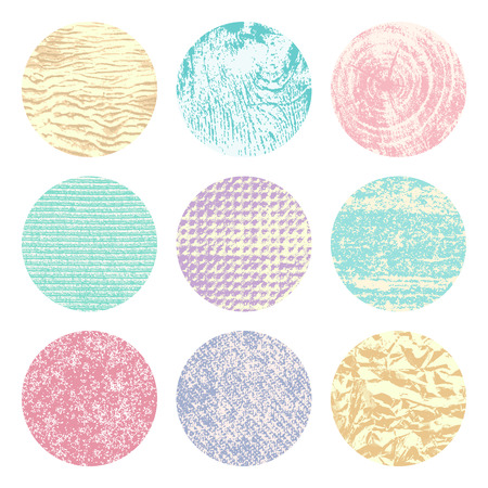 pale color: Collection of 9 round pale color vintage background textures of sand, canvas, foil, wood and stone