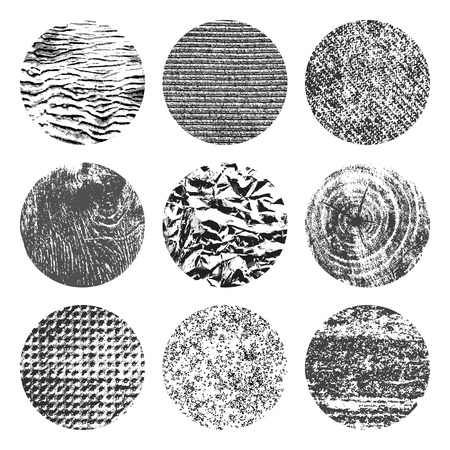 brutal: Collection of 9 round black and white brutal grunge background textures of sand, canvas, foil, wood and stone Illustration