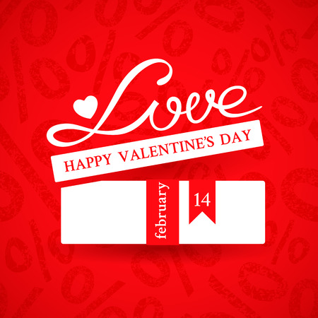 Bright promotional banner with white gift box with ribbon and inscription Love on red background with ornament of a percent sign to advertise products to the Valentines day action