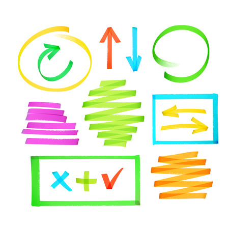 Collection of colorful highlighter drawn arrows, frames strokes and other elements