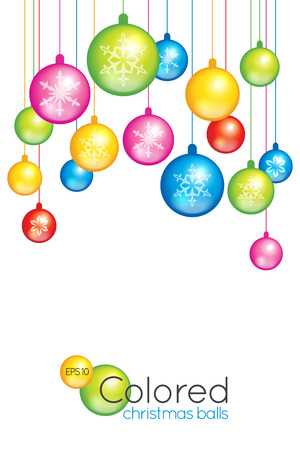 Christmas or New Year card with bright colored balls hanging from the top and a blank white area for your wishes and congratulations Ilustracja