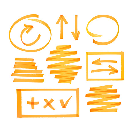 turn yellow: Collection of bright orange highlighter drawn arrows, frames strokes and other elements