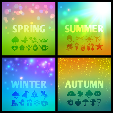 Set of colorful seasons background with spring, summer, autumn and winter weather, holidays and themed icons Vector