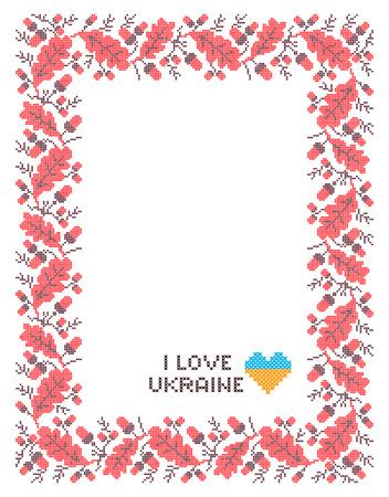 punto de cruz: Vertical marco ornamental de las ramas de color rojo y negro de roble de color de punto de cruz ucranianos nacionales con hojas y bellotas Vectores