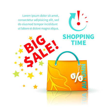 trinket: Bright yellow shopping bag with advertising seasonal autumn sale and trinket in form of percent  and icon shopping time