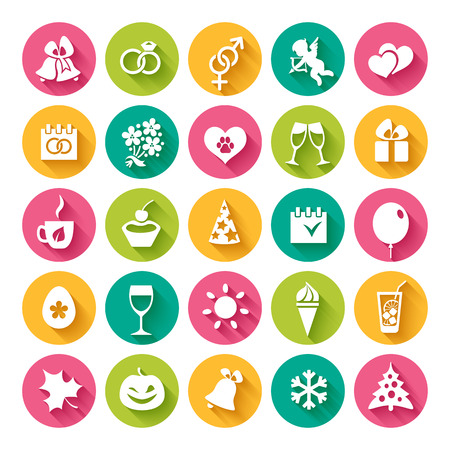 amur: Set of 25 flat icons and design elements for seasonal holidays, birthday and wedding in bright multi-colored circles on the white background