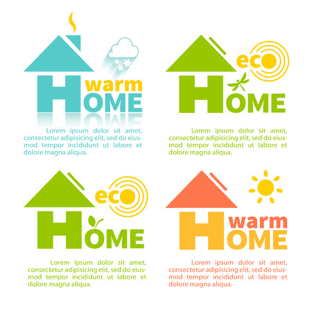 Collection of 4 logo of eco home in the shape of the letter H . Modern building technologies and energy supply