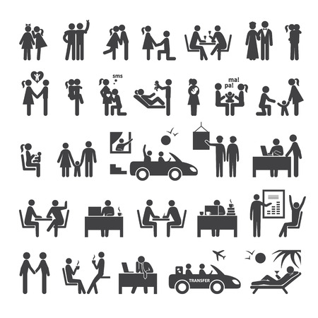 Big set of icons illustrating different relationships between people in society, business, office and family