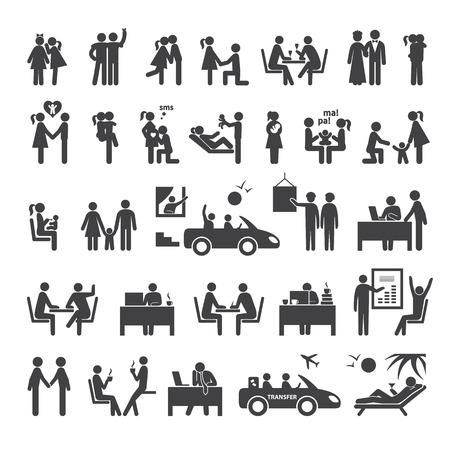 Grande set di icone che illustrano differenti rapporti tra le persone nella società, affari, ufficio e famiglia Archivio Fotografico - 42031581