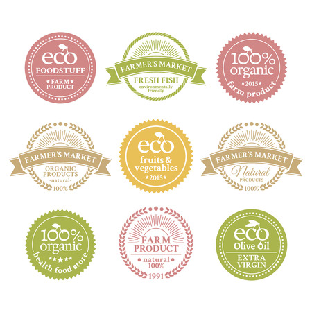 ecologically: Collection of 6 badges in retro style for farmers market with ecologically pure farm product