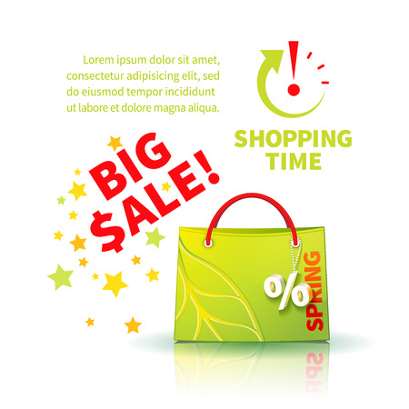 trinket: Bright green shopping bag with advertising seasonal spring sale and trinket in form of percent  and icon shopping time