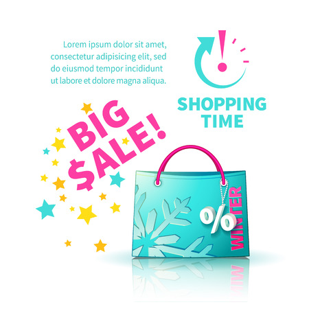 trinket: Bright blue shopping bag with advertising seasonal winter sale and trinket in form of percent and  icon shopping time