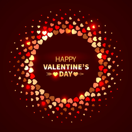 Valentines Day background. Red shining round frame from hearts in the disco style