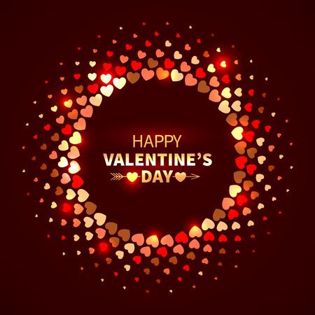 Valentijnsdag achtergrond. Rode glanzende ronde frame van harten in de disco stijl
