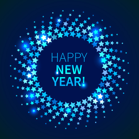 disco background: Happy New Year background. Blue shining round frame in the disco style