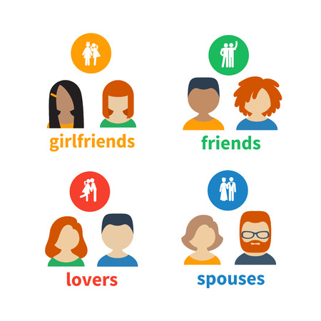 matrimony: Bright icons and avatars of these types of social relations as friendship, love, matrimony Illustration