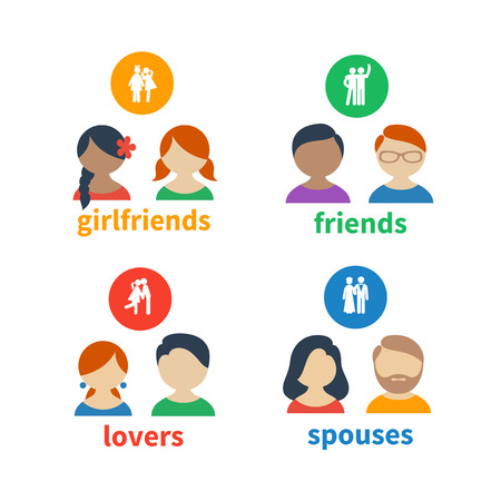 matrimony: Bright icons and avatars, illustrating these types of social relations as friendship, love, matrimony