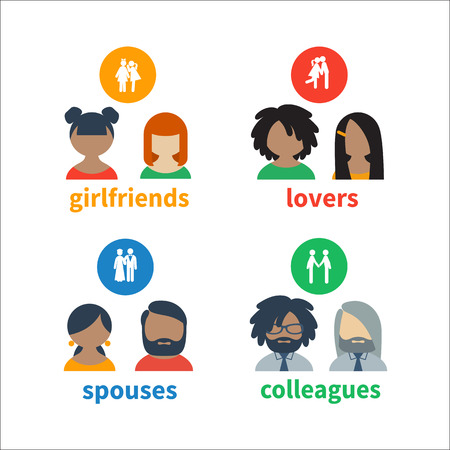matrimony: Bright icons and avatars, illustrating these types of social relations as friendship, matrimony, partnership Illustration